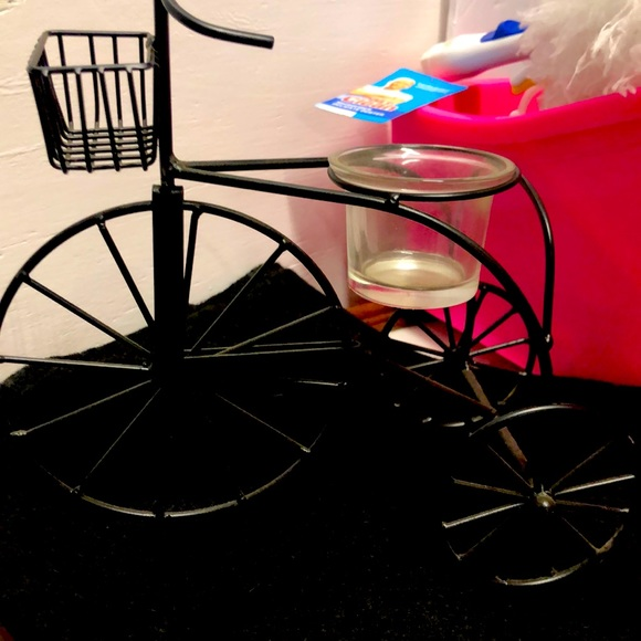 Small Table Top Black Bicycle Votive Holder